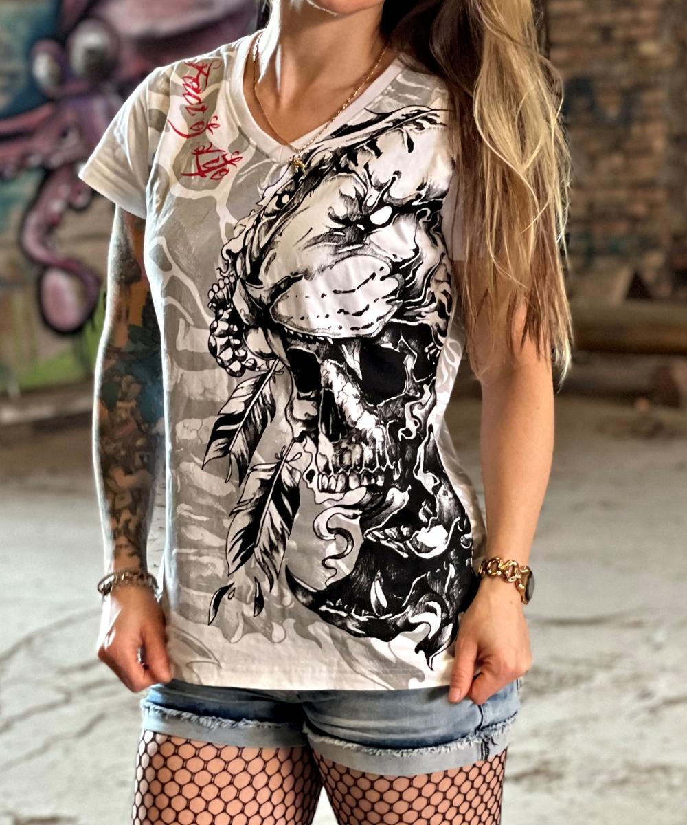 """Fact of Life T-Shirt """"Wild Skull"""" GS-02 weiß"""