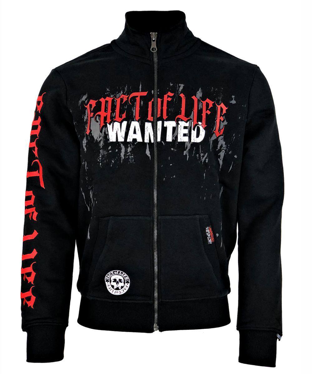 "Fact of Life Herren Sweat-Jacke ""Wanted"" SJ-04 black"