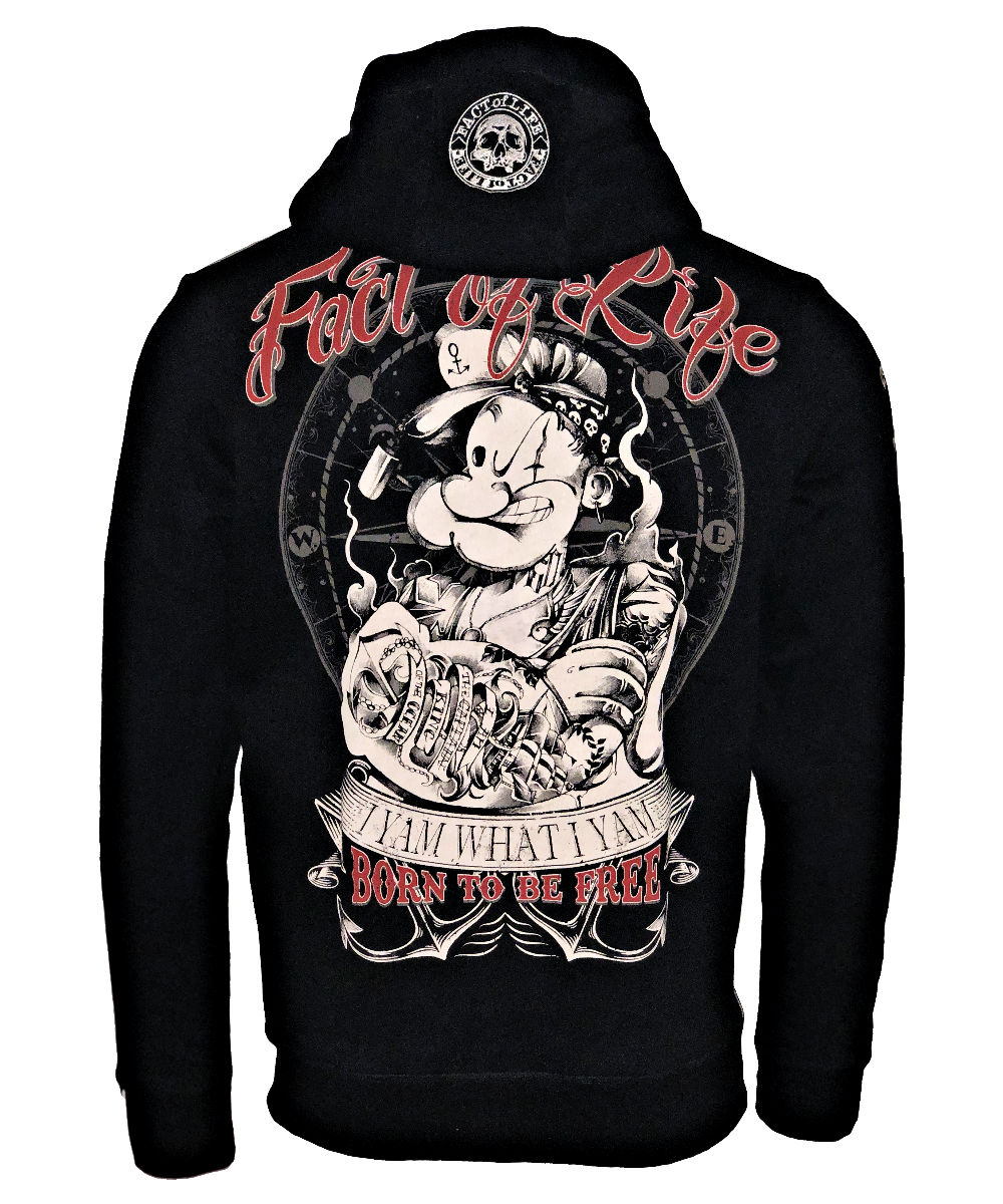 """Fact of Life Hoodie """"Born to Be Free"""" SH-05 black"""