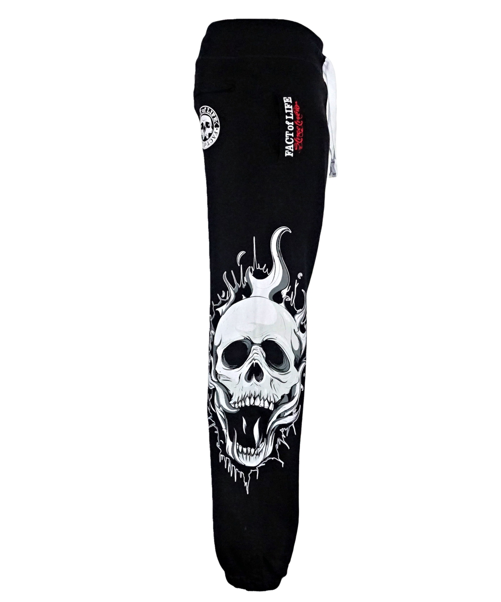 "Fact of Life Jogginghose JH-03 ""Fire Skull"" black"