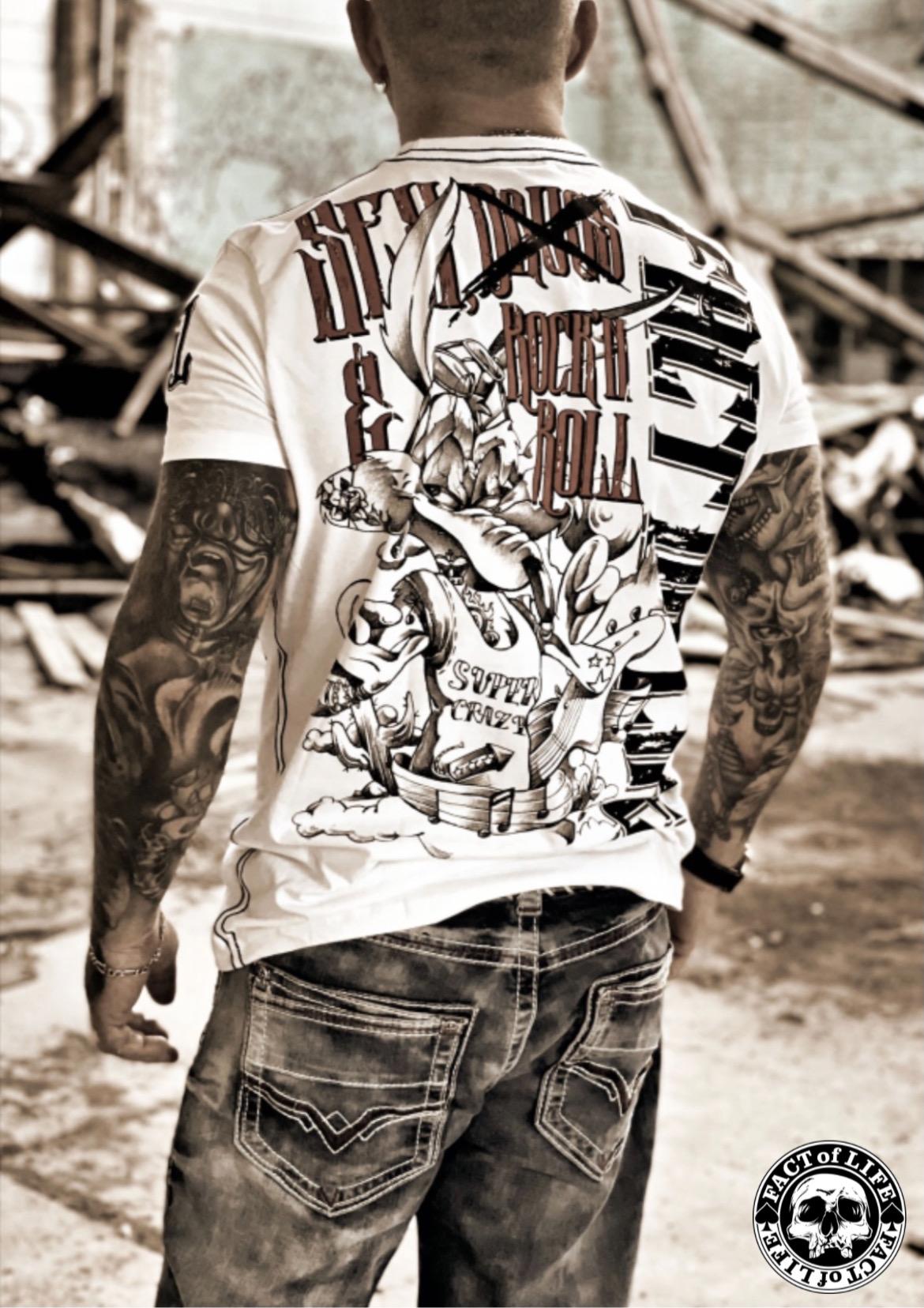 "Fact of Life T-Shirt ""Super Crazy"" TS-43 weiß"